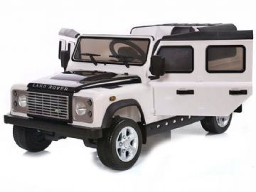 Ride on Car 12v Electric Land Rover Defender with Parental Radio Control White Official Model